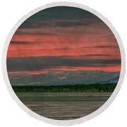 Round Beach Towel featuring the photograph Fishermans Wharf Sunrise by Randy Hall