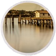Fishermen Fuel Dock Round Beach Towel by Tony Locke