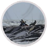 Fishermen With Seagull Round Beach Towel by Allen Sheffield