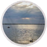 Round Beach Towel featuring the photograph Fishermens Morning by James BO Insogna