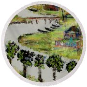Fishermen's Village Round Beach Towel