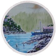 Fisher's Cove Round Beach Towel by Mike Caitham