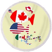Fishes Map Of North America Round Beach Towel by Keshava Shukla