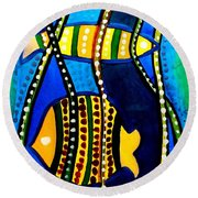 Round Beach Towel featuring the painting Fishes With Seaweed - Art By Dora Hathazi Mendes by Dora Hathazi Mendes