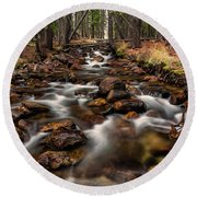 Fishhook Creek Waterscape Art By Kaylyn Franks Round Beach Towel