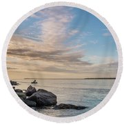 Fishing Along The South Jetty Round Beach Towel by Greg Nyquist