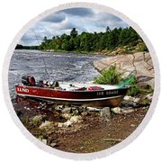 Fishing And Exploring Round Beach Towel