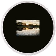 Fishing At Dawn Round Beach Towel