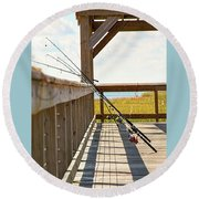 Fishing At Shem Creek Round Beach Towel