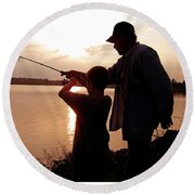 Fishing At Sunset Grandfather And Grandson Round Beach Towel