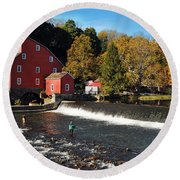 Fishing At The Old Mill Round Beach Towel