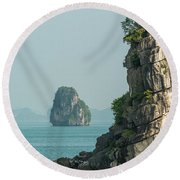 Fishing Boat 2 Round Beach Towel by Werner Padarin