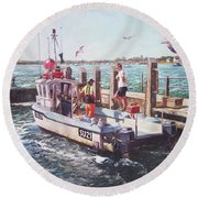 Fishing Boat At Mudeford Quay Round Beach Towel