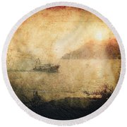 Fishing Boat At Sunset Round Beach Towel