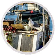 Fishing Boat Captain Seagull - Rovinj, Croatia Round Beach Towel