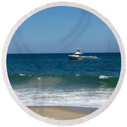 Fishing Boat Round Beach Towel by Dorothy Maier