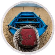 Little Blue Fishing Boat Round Beach Towel