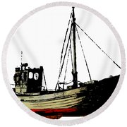 Fishing Boat Round Beach Towel