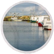 Fishing Boats At Feltzen South Round Beach Towel