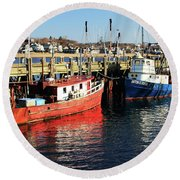 Round Beach Towel featuring the photograph Fishing Boats At Provincetown Wharf by Roupen  Baker