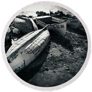 Fishing Boats At The Old Port Round Beach Towel