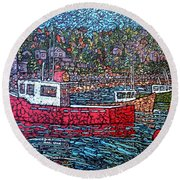 Fishing Boats - Beaver Harbour Round Beach Towel