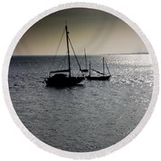 Fishing Boats Essex Round Beach Towel