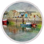 Fishing Boats In Ireland Round Beach Towel