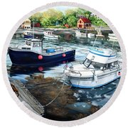 Fishing Boats In Lanes Cove Gloucester Ma Round Beach Towel by Eileen Patten Oliver
