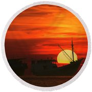 Fishing Boats In Sea Round Beach Towel