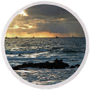 Fishing Boats Off Point Lobos Round Beach Towel
