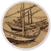 Fishing Boats On The Beach At Saintes-maries De La Mer, 1888 Round Beach Towel