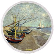 Round Beach Towel featuring the painting Fishing Boats On The Beach by Van Gogh