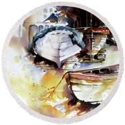 Round Beach Towel featuring the painting Fishing Boats by Rae Andrews