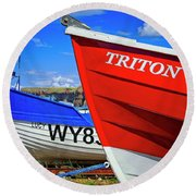 Fishing Boats Saltburn-by-the-sea Round Beach Towel
