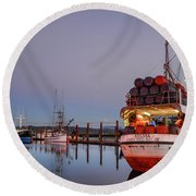 Fishing Boats Waking Up For The Day Round Beach Towel