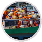 Fishing Bouys On Boat Deck Round Beach Towel