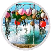 Round Beach Towel featuring the photograph Fishing Buoys by Terri Waters