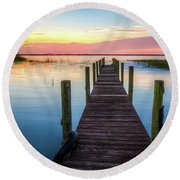 Round Beach Towel featuring the photograph Fishing Dock At Sunrise by Debra and Dave Vanderlaan