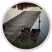 Fishing Dock Round Beach Towel by Karen Stahlros