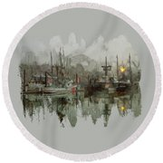 Round Beach Towel featuring the photograph Fishing Fleet Dock Five by Thom Zehrfeld