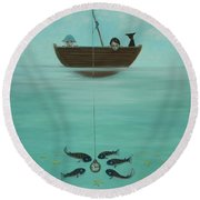 Fishing For Time Round Beach Towel
