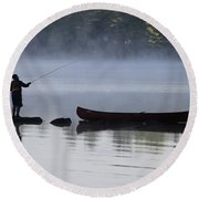 Fishing From The Rocks Round Beach Towel