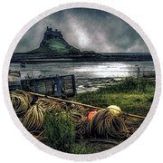 Round Beach Towel featuring the photograph Fishing Gear At Lindisfarne. by Brian Tarr
