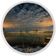 Round Beach Towel featuring the photograph Fishing Hole At Night by Fiskr Larsen