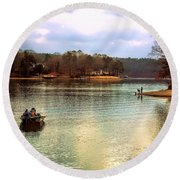 Round Beach Towel featuring the photograph Fishing Hot Springs Ar by Diana Mary Sharpton