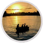 Fishing In Auckland Round Beach Towel