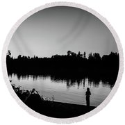 Fishing In Black And White Round Beach Towel