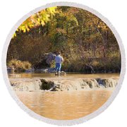 Fishing In Fall Round Beach Towel by Sheila Brown