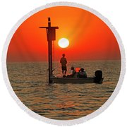 Fishing In Lacombe Louisiana Round Beach Towel